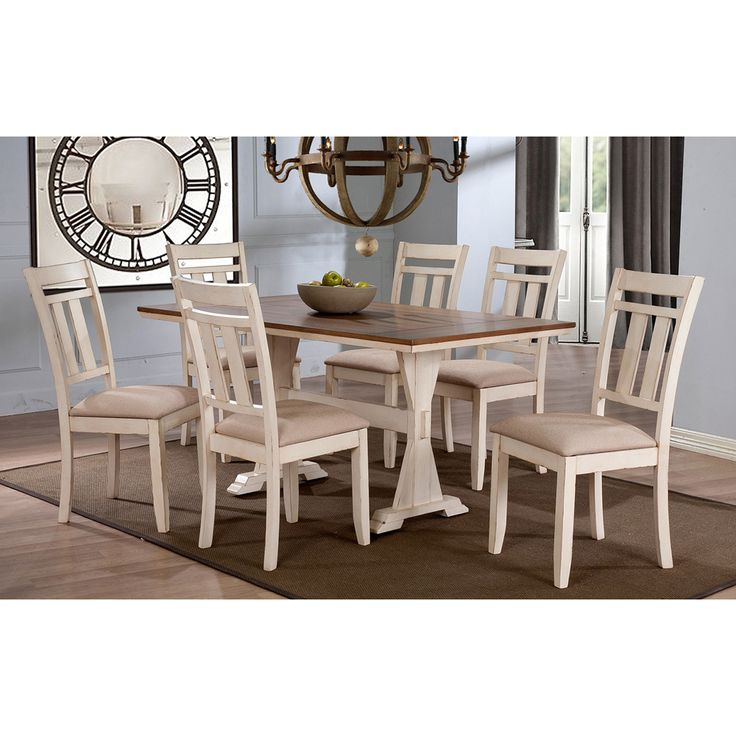 Baxton Studio Roseberry Shabby Chic French Country Cottage Antique Oak Wood  And Distressed White Dining Set With Trestle Base Fixed Top Dining Table