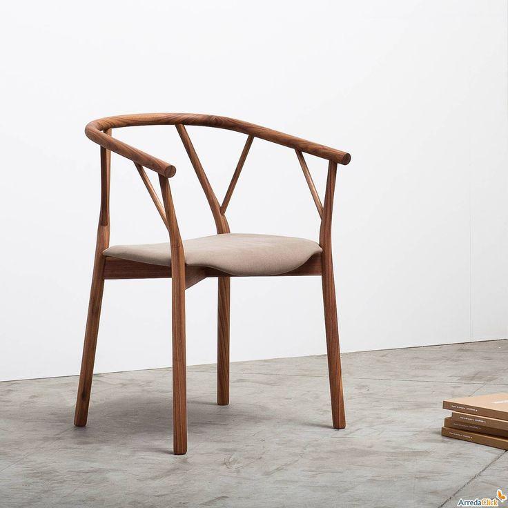 Sedia con braccioli e seduta in legno curvato Valerie - ARREDACLICK