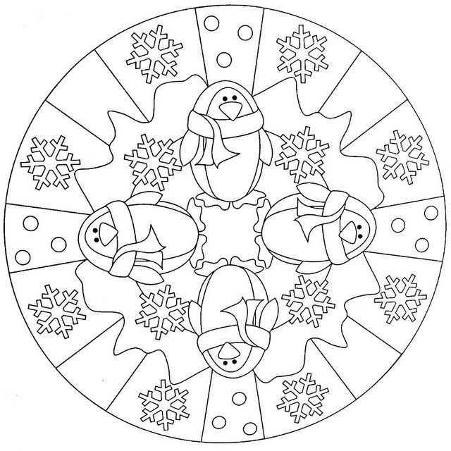 penguin  mandala coloring page