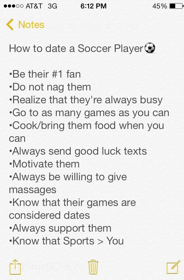 How to date a Soccer Player. Very true but the last one should be an equal sign.the last one