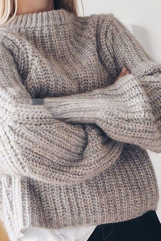 Beige Oversized Knit Sweater