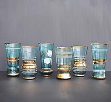 Blue and Gold Boho Tumblers Mid Century Czech Glasses