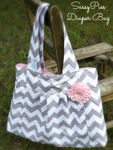 Handmade Diaper Bag, Gray chevron, pink.  Etsy.  The Carpenter's wife .... Gray Chevron Diaper bag with by IAmTheCarpentersWife