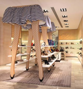 US fashion retailer Opening Ceremony, pop-up shop shoe display in Hong Kong. via Retail Details blog.