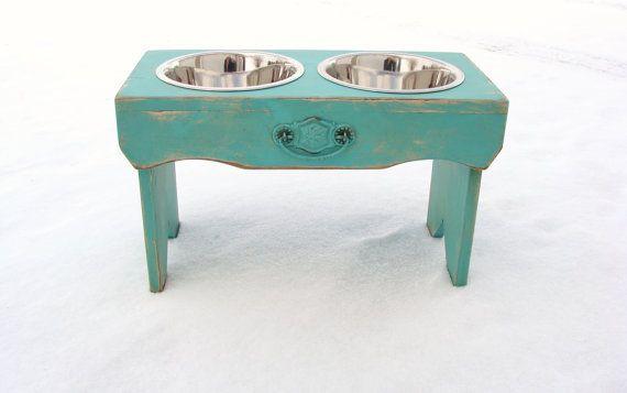 Elevated Dog Feeder, Dog Bowl Holder Pets Feeding Dish Beach Coastal Cottage Decor Sea Green Blue