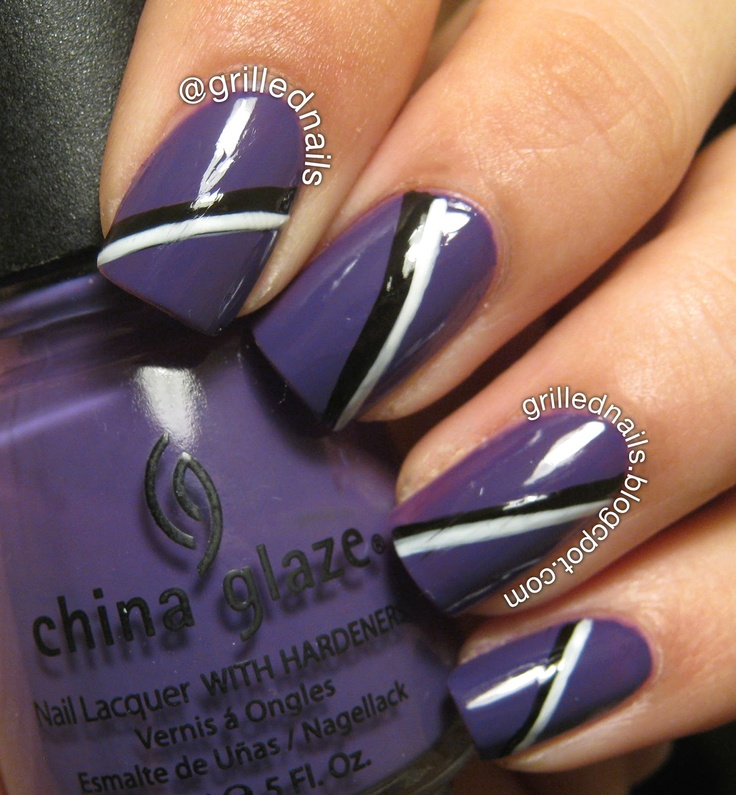 12 best purple black white nails images on pinterest nail black and white stripes on purple base easy nail art design prinsesfo Images