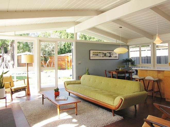 Hanging light fixtures in lieu of the fan. Midcentury living room by Tara Bussema - Neat Organization and Design