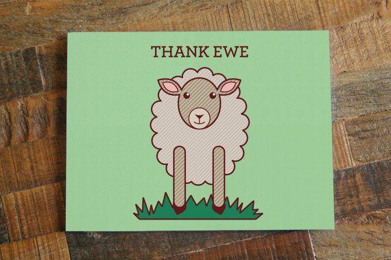 Thank Ewe  Thank You Card Cute Sheep Art Card by TinyBeeCards, $5.00