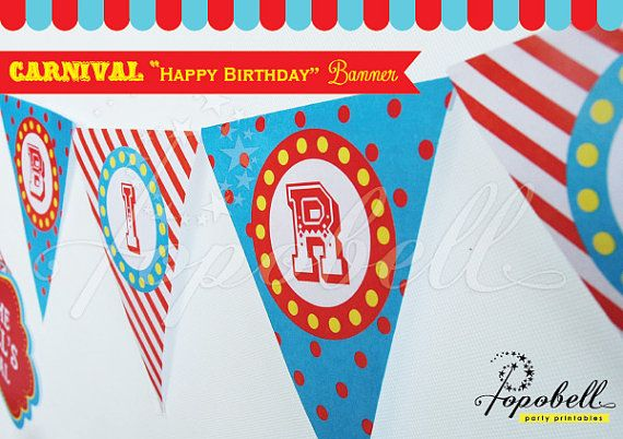 Circus Pennant Banners with Happy Birthday Text for by Popobell