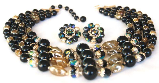 Japan Black Gold AB Art Bead Necklace Earring Set- Stunning Rich Set!