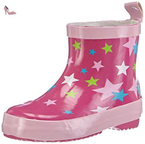 Playshoes Kurze Gummistiefel Sterne Aus Naturkautschuk, Bottes de Pluie Mixte Enfant - Rose (pink 18), 22 EU - Chaussures playshoes (*Partner-Link)