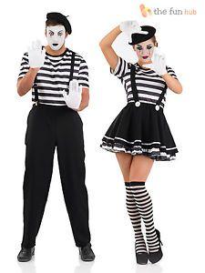 Mens Las Mime Artist Costume Black White Street Circus French