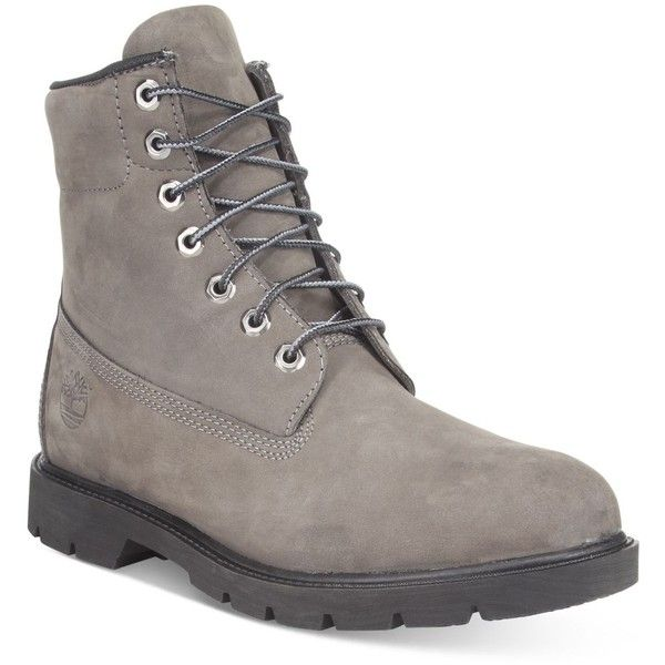 "Timberland Men's 6"" Basic Boots ($150) ❤ liked on Polyvore featuring men's fashion, men's shoes, men's boots, grey, timberland mens shoes, mens grey shoes, timberland mens boots, mens gray boots and mens shoes"