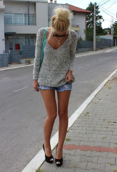 Grey #Sweater and Riped Denim #Short from fashionationism.tumblr.com
