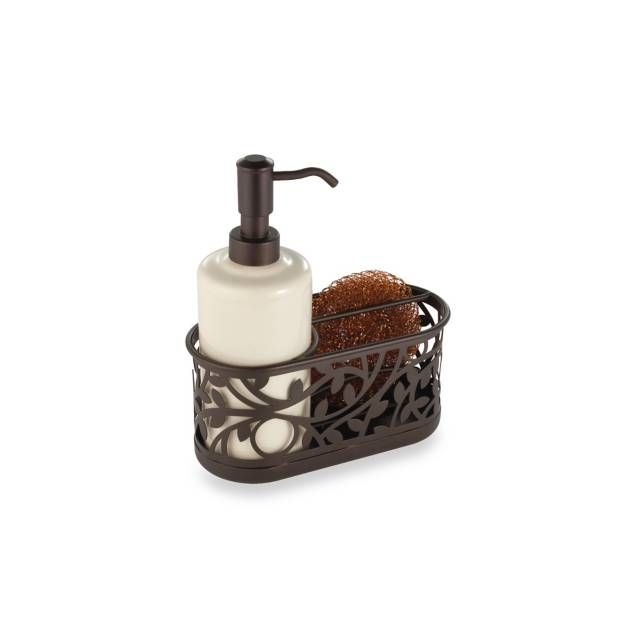 product image for InterDesign® Vine Kitchen Sink Soap Dispenser Pump and Sponge Caddy in Bronze