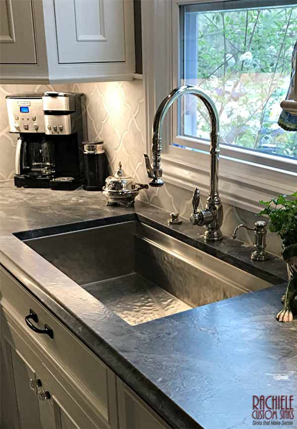 Hammered Stainless Steel Sink And Waterstone Faucet Made In The Usa Kitchen Design Stainless Sink Undermount Stainless Steel Sink