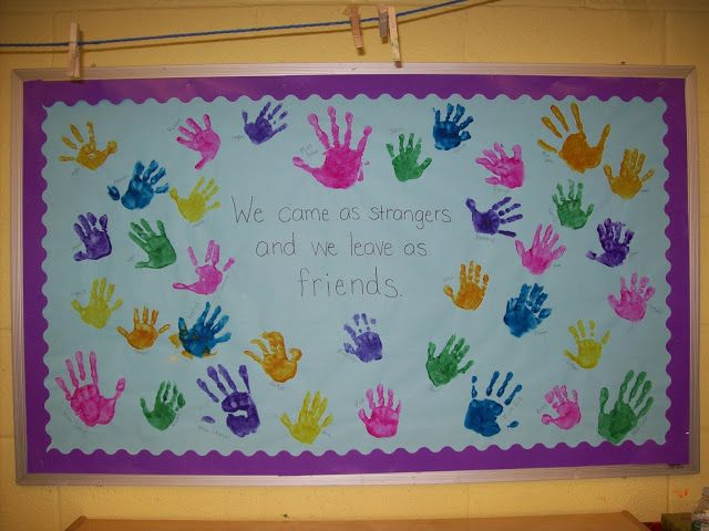 Bulletin board End of the year - We came and strangers and we leave as friends - handprint bulletin board Terrific Preschool Years