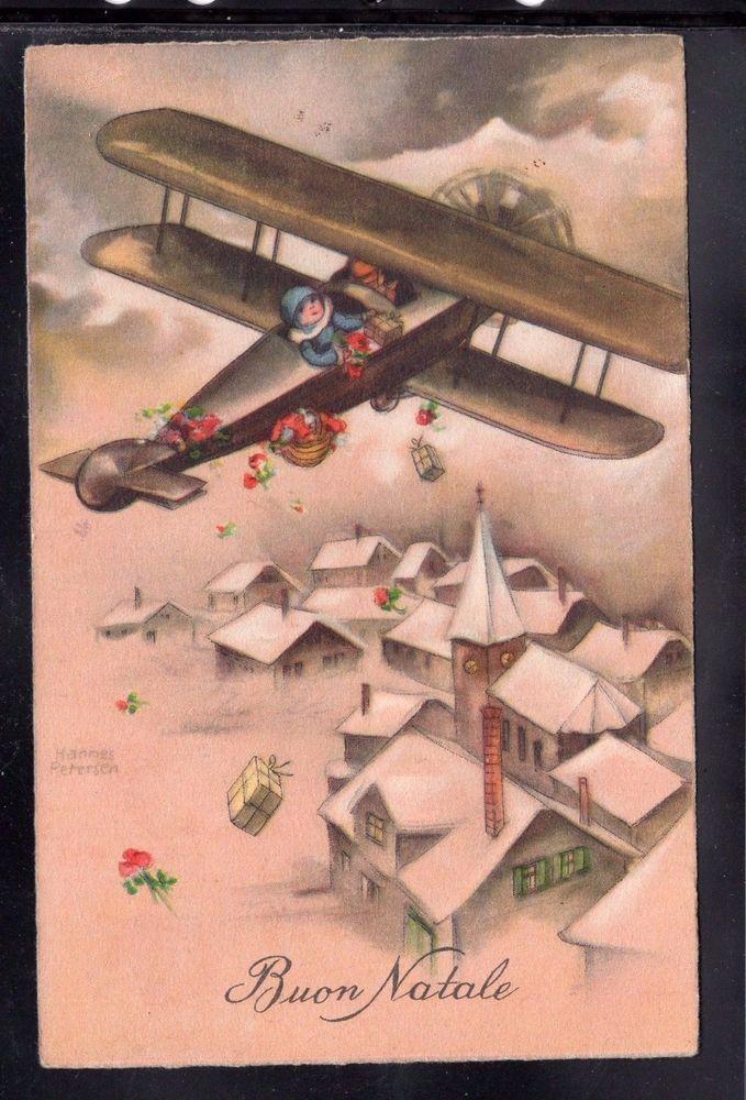 Cartolina Buon Natale Aereo con Bambino doni YA867