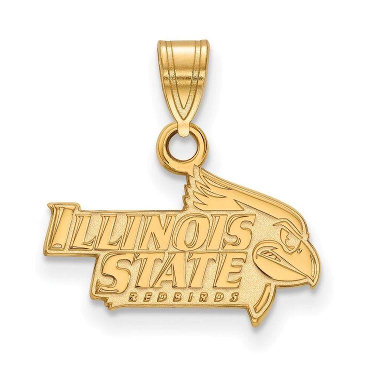 Sterling Silver w/GP LogoArt Illinois State University Small Pendant