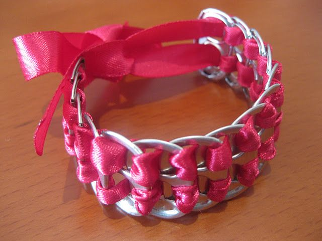 Soda Tab Bracelet with Satin Ribbon