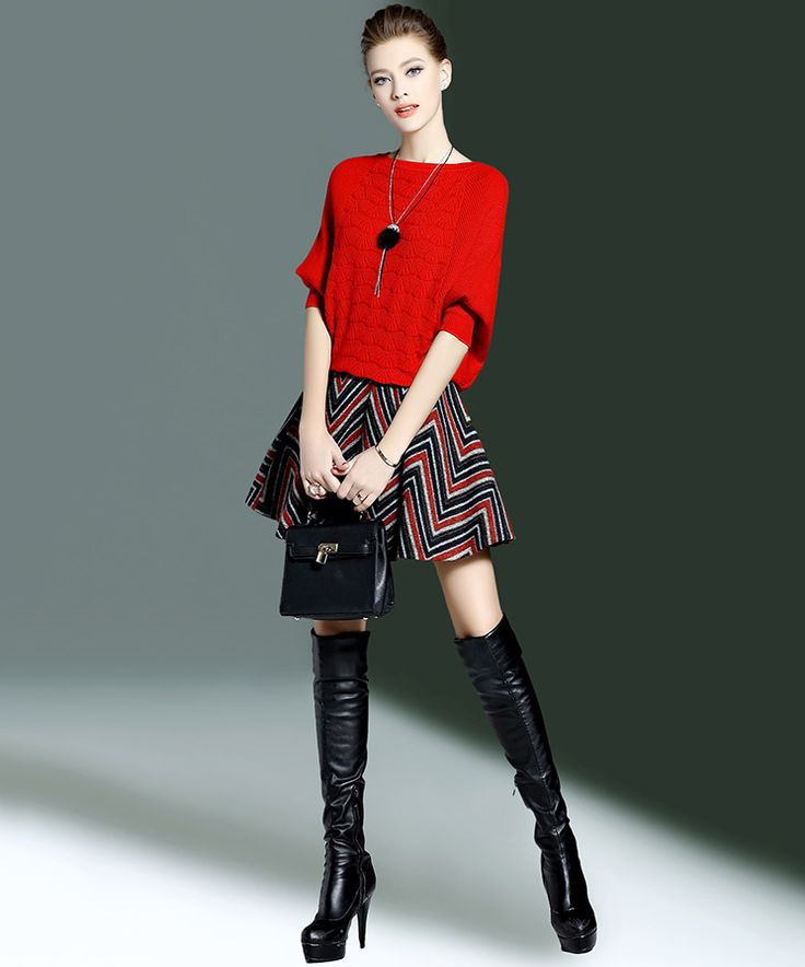 Ladies Knitted Skirt Suit, Batwing Sleeves Sweater and Skirt, Red