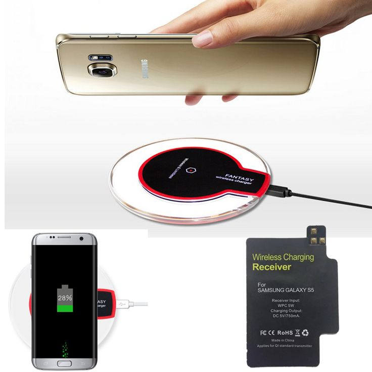 S5 Qi Wireless Charger Pad + Receiver For Samsung Galaxy S5 GT i9600 GS5 SM-G900H High Quality Charging Kit