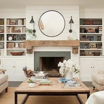 shiplap siding in white could also be used on the living room side of the peninsula where the barstools go.