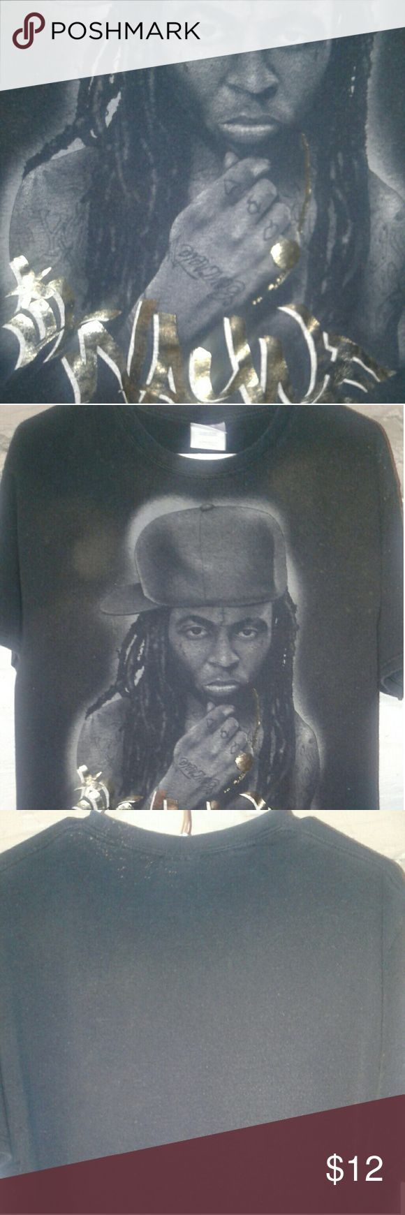 Lil Wayne Graphic T,custom bleached distress Lil Wayne Graphic T shirt,custom,bleach distressed look,size large Adults,I will not find a T shirt like this anywhere else,gold and black, no joles,no rips,no burns,Pet free,smoke free,size large in adults Hanes Shirts Tees - Short Sleeve