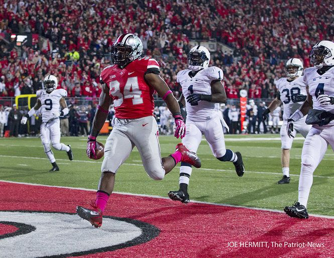 PENN STATE – FOOTBALL 2013 – Penn State vs Ohio State on October 26, 2013. Ohio State running back Carlos Hyde scores a touchdown as a host of Penn State defenders trail during the second quarter at Ohio Stadium. Ohio State won, 63-14. Joe Hermitt, PennLive.com