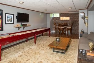 Transitional Game Room with flush light, Crown molding, Box ceiling, Brunswick Billiards Gunnison 16' Shuffleboard, Carpet