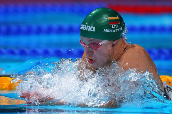 Ruta Meilutyte of Lithuania sets a new World Record time of 29.48 in the Swimming Women's Breaststroke 50m Semifinal heat 2 on day fifteen of the 15th FINA World Championships at Palau Sant Jordi on August 3, 2013 in Barcelona, Spain.