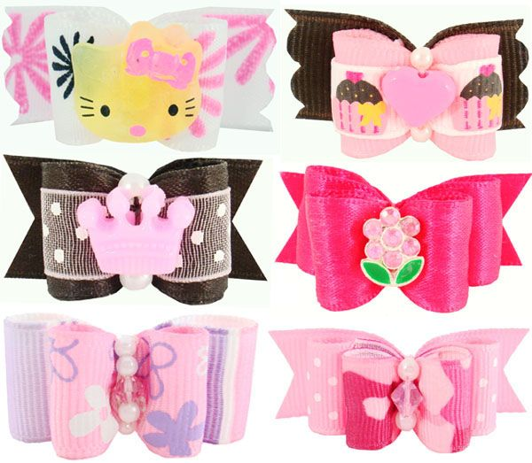 Dog Grooming Bows- Pet Bows, Yorkie Bows, Shih Tzu Bows, Pet Dog Grooming, Puppy Hair Bows