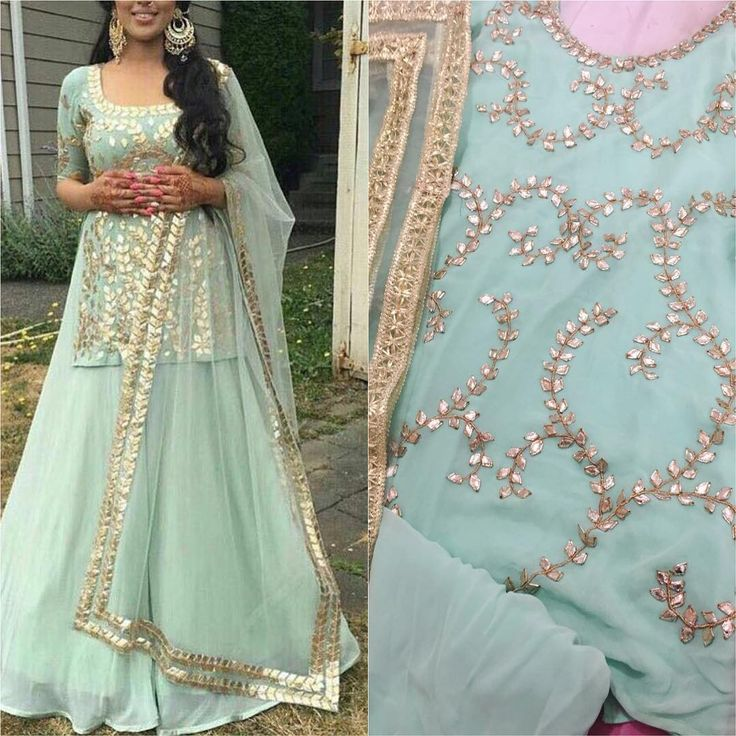"66 Likes, 11 Comments - House Of 2 (@house_of_2) on Instagram: ""Mint green georgette sharara gotapatti work To purchase this product mail us at houseof2@live.com…"""
