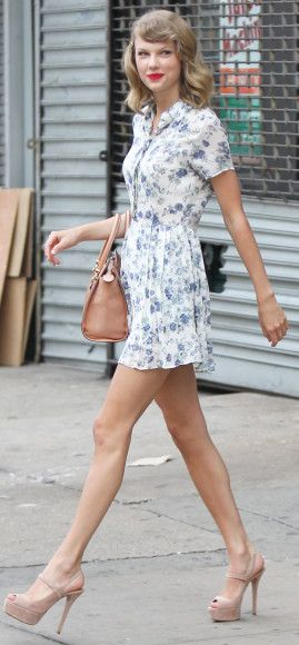 Taylor Swift's blue and white floral shirtdress