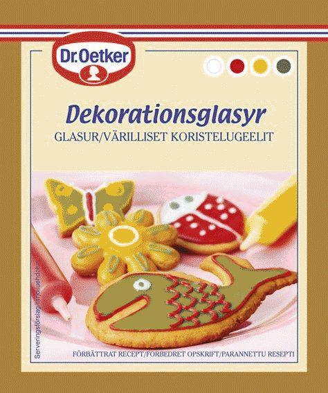 Dekorationsglasyr Skapa konst som går att äta upp? Tur att inte denna produkt fanns på DaVincis tid.. Dekorationsglasyr är en mycket fin kristyr som gör det enkelt att skriva och rita på både pepparkakor, cupcakes, praliner och muffins. Förpackningen innehåller fyra färger; vitt, rött, grönt och gult. Färgerna är helt naturliga.