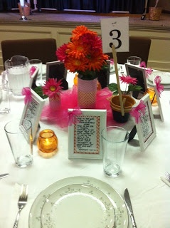 Table decorations for ladies' event at church