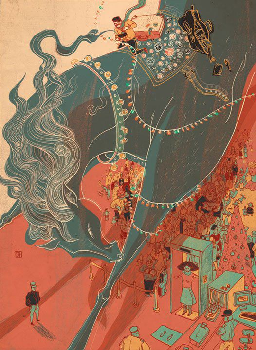 Victo Ngai The colors and concept behind the design are very interesting. I like how it looks like the whole image has been roughed up a bit and faded.