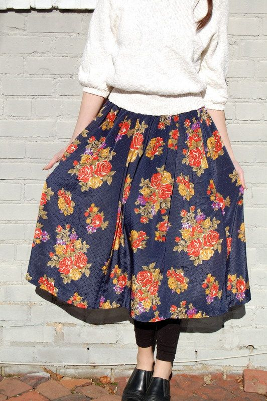 Floral tapestry print skirt 1980s by NighthawksVintage on Etsy, $14.00