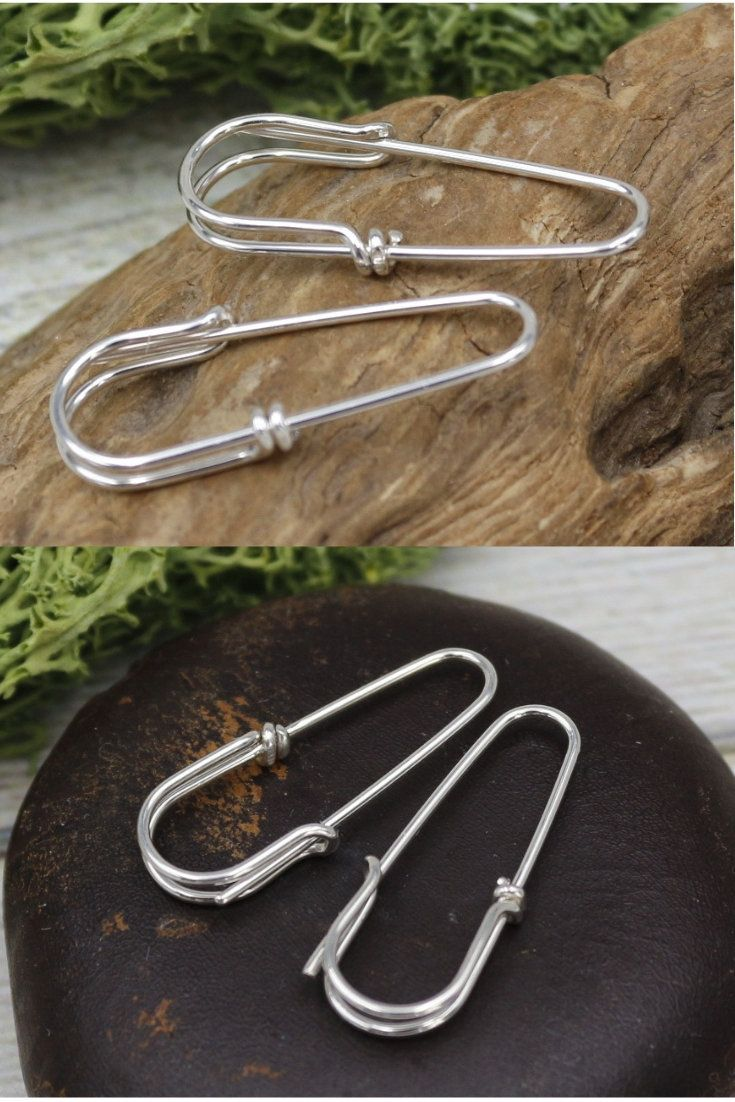 Safety Pin Earrings Punk Earrings Silver Safety Pin Hoops