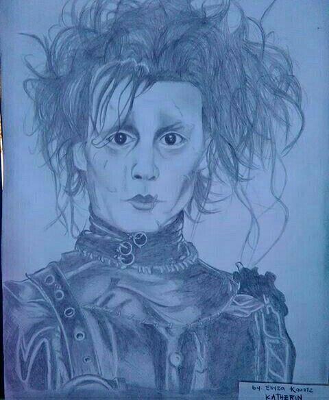 Edward Scissorhand  Dibujo a lápiz carbón