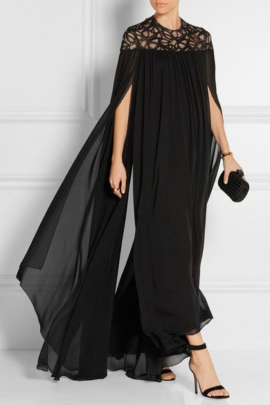 Black silk-blend georgette and lace Concealed hook and zip fastening at back 96% silk, 3% cotton, 1% polyamide; lining: 100% silk Dry clean Imported