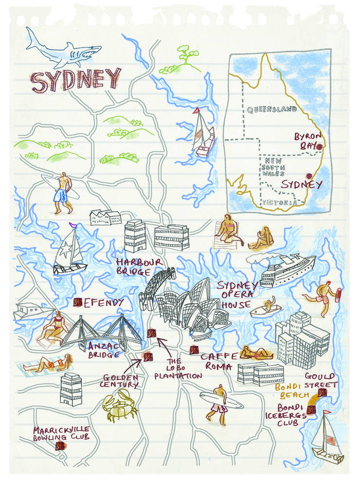 Sydney map by Robert Littleford. January 2015 issue Sunday Times Travel Magazine