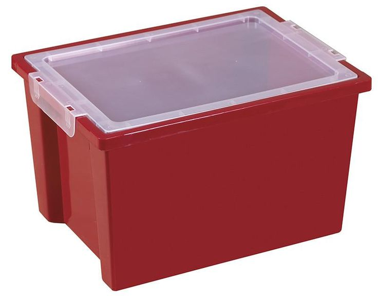 ECR4Kids ELR-0723-RD Large Storage Bins with Lid - Red - Set of 20