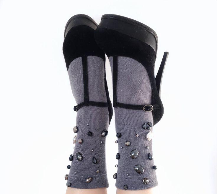 Lurex socks, fashion socks, emblished sicjd, crystal socks, socks with glass beads, tinsel socks, women's clothes, srockings, grey socks by katringloss on Etsy https://www.etsy.com/au/listing/583233697/lurex-socks-fashion-socks-emblished