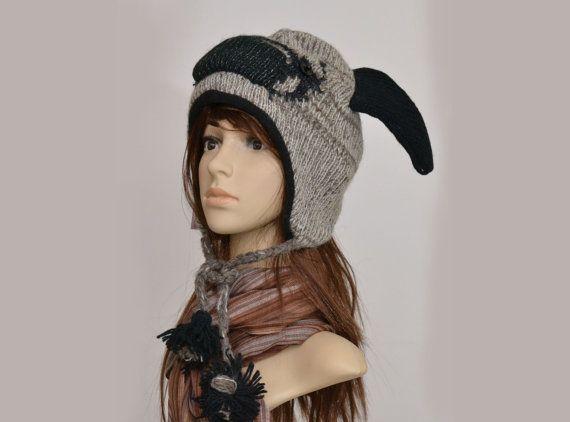 Pug animal hat   warm hat  knit hat  beanie by HatsMittensEtc