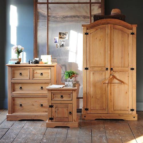 Corona Mexican Solid Pine Trio Double Wardrobe Bedroom Set (L2001) with Free Delivery | The Cotswold Company - Corona Trio