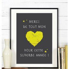 Affiche merci de tout mon coeur - a télécharger #maitresse #ecole #findannee #cadeau #atsem #avs #maitre