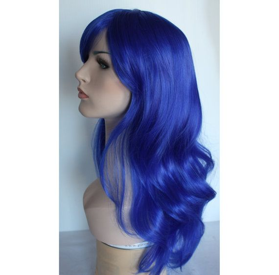 Check out Ready to ship overnight - Long wavy blue wig hair synthetic wig -high quality wig on wigglywigs
