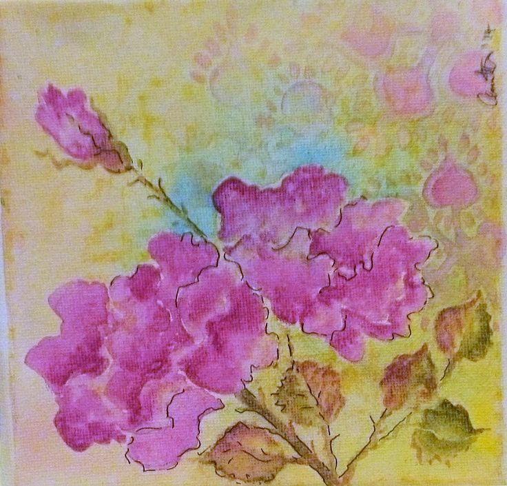 A watercolour miniature , simple roses 10cm X 10cm approx. By me, Annette Mansfield. To see more go to https://m.facebook.com/RedWingsandPaperlace
