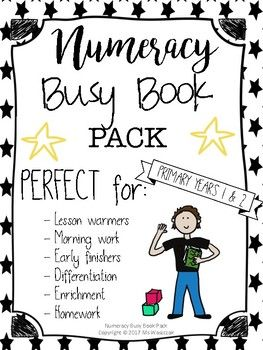 Dear Teachers,   This is a Numeracy Busy Book PACK filled with engaging activities for your students. It will keep the class occupied and entertained. There are eye-catching cartoons provided by me to fill mind-stretching worksheets.  This product is PERFECT for: - Lesson warmers - Morning work - Early finishers - Differentiation - Enrichment - Homework    Numbers 1-1, Page 1 	Number recognition, number sense, sequencing Page 2	Greater than, smaller than, equal Page 3 	Greater than, smaller…
